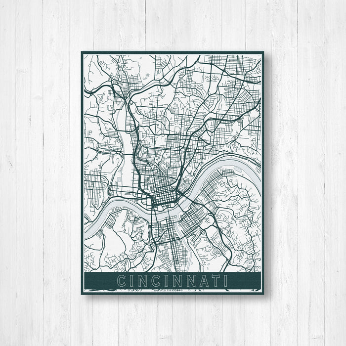 Cincinnati Ohio City Street Map Print