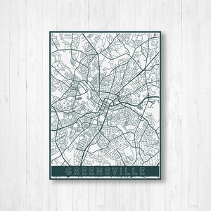 Greensville South Carolina Street Map | Hanging Canvas Map of Greensville | Printed Marketplace