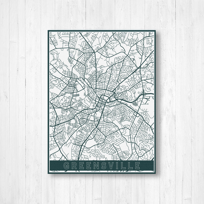Greensville South Carolina Street Map Print