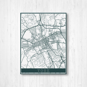 York Pennsylvania Street Map Print | Hanging Canvas