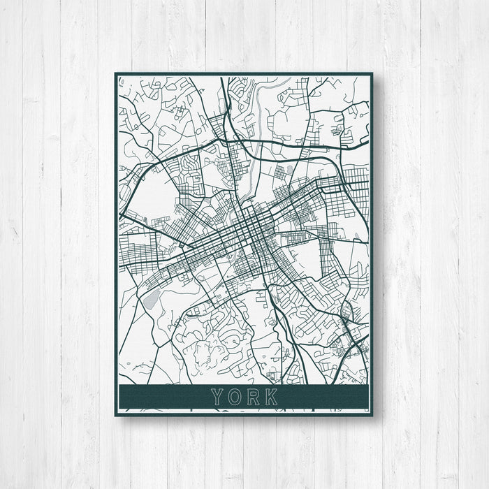 York Pennsylvania Street Map Print