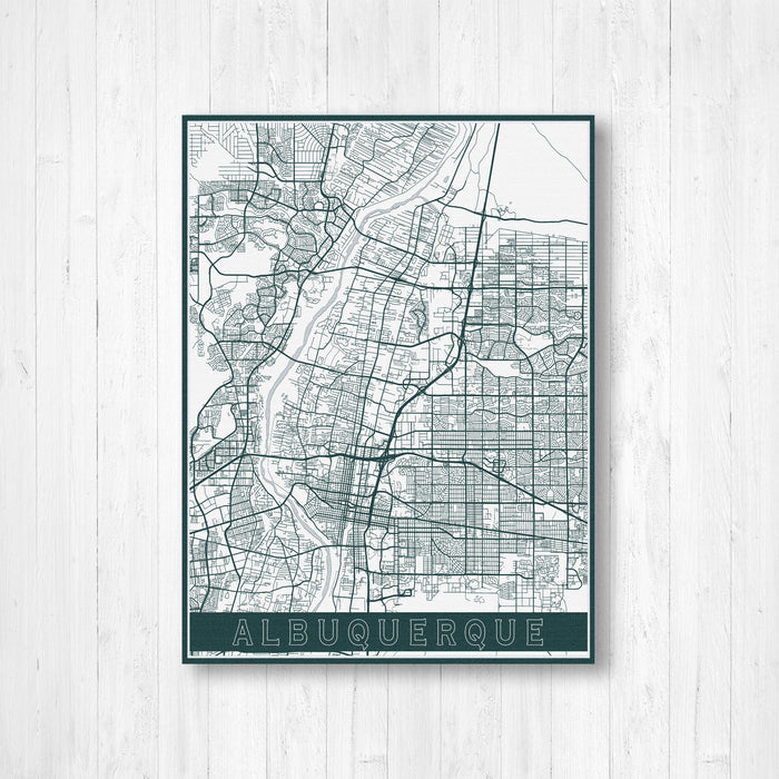 Albuquerque New Mexico City Street Map Print
