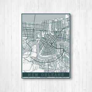 New Orleans Urban Street Map | Hanging Canvas Map of New Orleans | Printed Marketplace