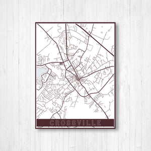 Crossville Tennessee City Street Map Print