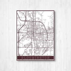 Bloomington Indiana Street Map Print