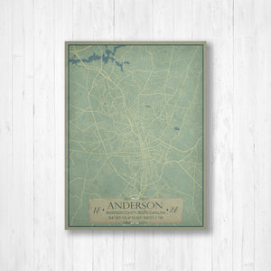Anderson South Carolina City Street Map