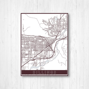 Billings Missouri Street Map Print