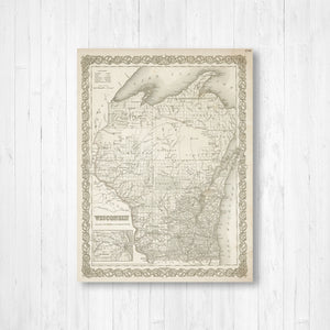 Wisconsin Vintage State Map Print | Wisconsin Canvas Map Art | Printed Marketplace