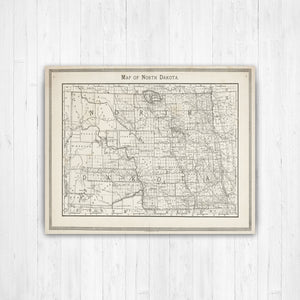 North Dakota Map Print