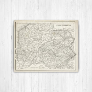 Pennsylvania Sepia State Map Print