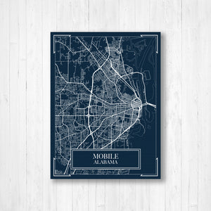 Mobile Alabama Blueprint Map Print