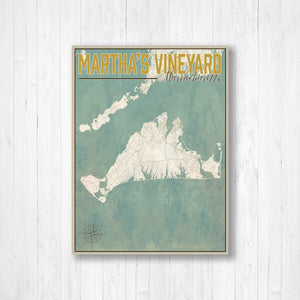 Marthas Vineyard Nautical Vintage Street Map By Printed Marketplace | Hanging Canvas, Matte Print, Wrapped Canvas