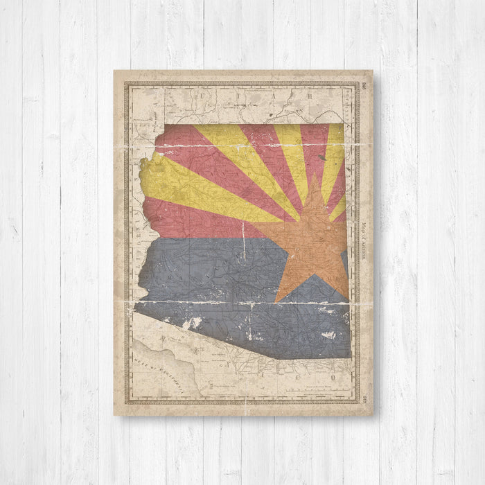 Arizona State Flag Map Antique Print