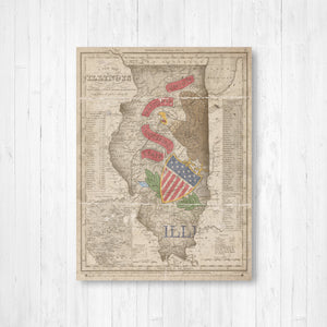 Illinois Vintage Flag State Map