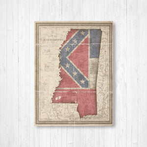 Mississippi Map Flag Conversion Print