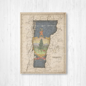 Vermont Map and State Flag Print