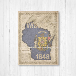 Wisconsin State Flag Vintage Canvas