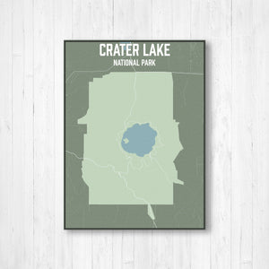Crater Lake National Park Lake Map Print