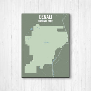 Hanging Canvas Map of Denali National Park by Printed Marketplace