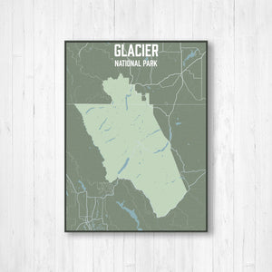 Hanging Canvas Map of Glacier National Park by Printed Marketplace