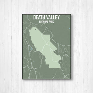 Hanging Canvas Map of Death Valley National Park by Printed Marketplace