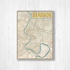 Bangkok Thailand City Street Map Print