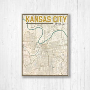 Kansas City Vintage Map Print By Printed Marketplace