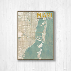 Vintage City Street Map of Miami Florida By Printed Marketplace | Hanging Canvas, Matte Print, Wrapped Canvas