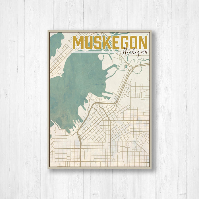 Muskegon Michigan Nautical City Map