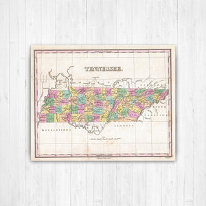 Tennessee State Map Antiqued Canvas Print