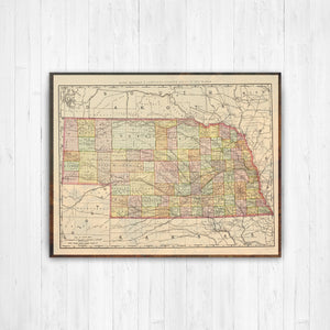 Nebraska State Map: Antiqued