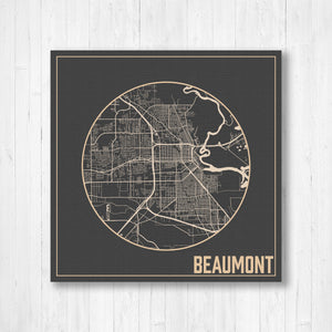Hanging Canvas Map of Beaumont Texas City