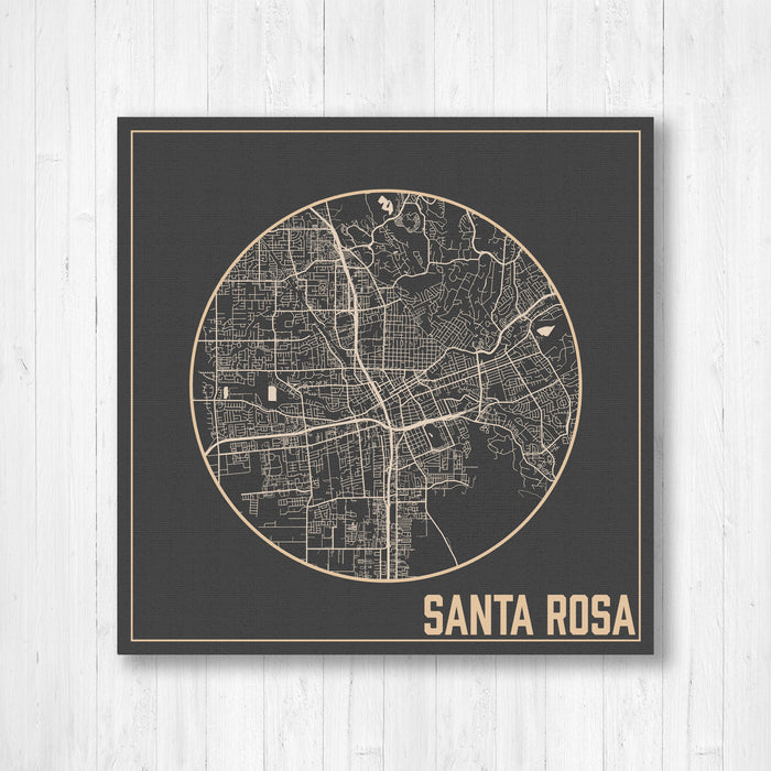 Santa Rosa California City Street Map Print