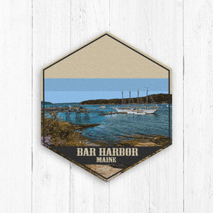 Bar Harbor Maine Hexagon Illustration