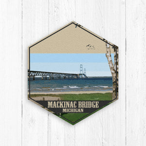 Mackinac Bridge Hexagon Canvas Illustration