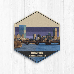 Boston Massachusetts Hexagon Illustration Print