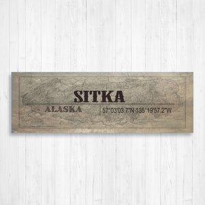 Sitka Alaska GPS Hometown Wall Canvas