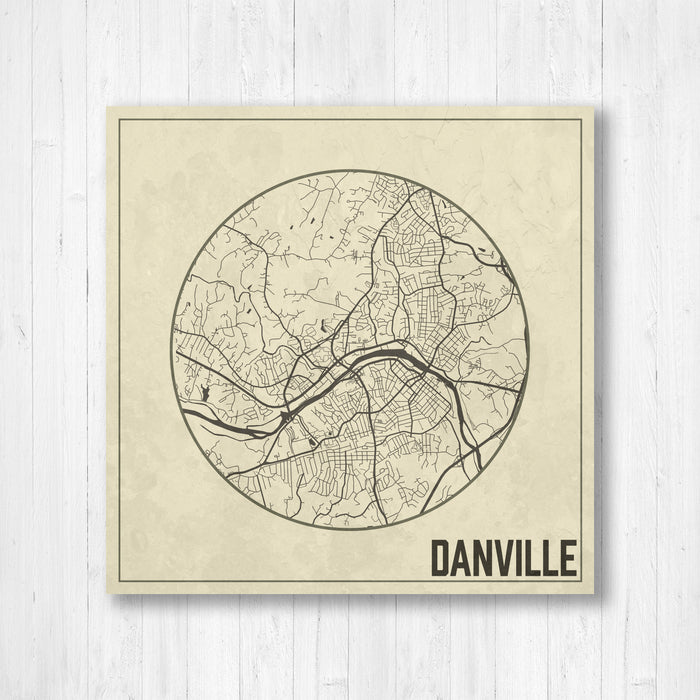 Danville Virginia Weathered Square Street Map