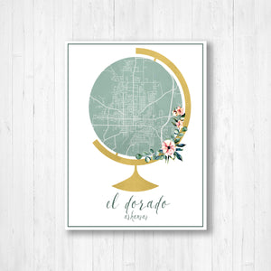 El Dorado Arkansas Street Map Watercolor Globe | Hanging Canvas