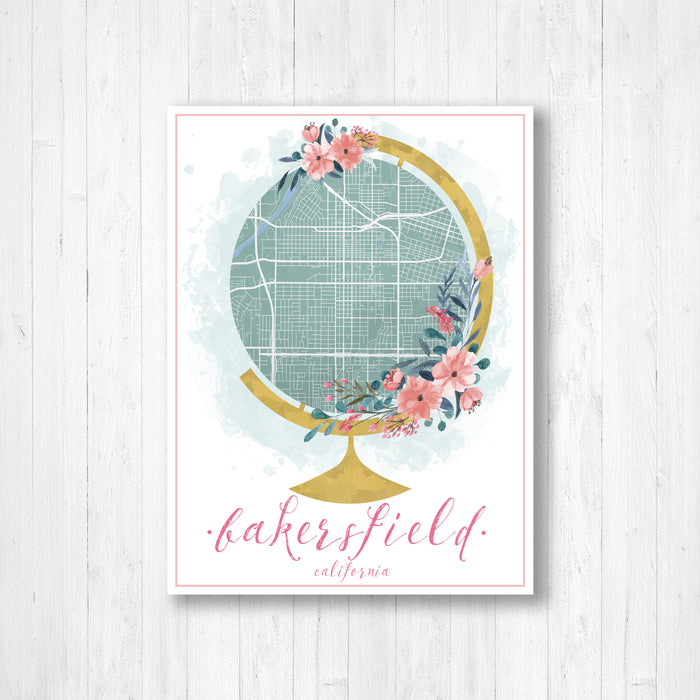 Bakersfield California Watercolor Globe Street Map