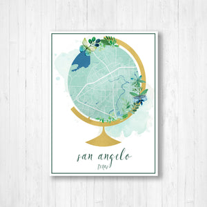 San Angelo Texas Watercolor Globe Map
