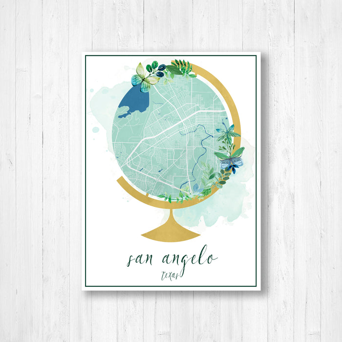 San Angelo Texas Watercolor Globe Street Map