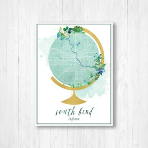 South Bend Indiana City Street Map Print