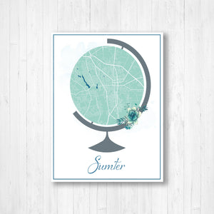 Sumter South Carolina City Street Map Print