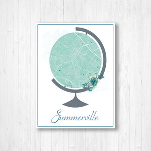 Summerville South Carolina City Street Map Print