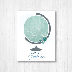 Jackson Mississippi City Street Globe Map