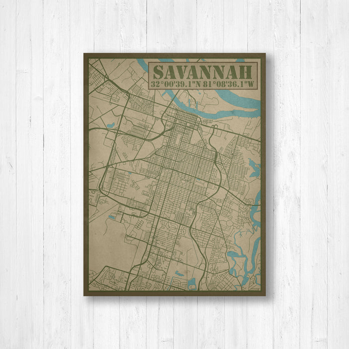 Savannah Georgia City Street Map Print