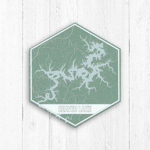 Beaver Lake Arkansas Hexagon Map Canvas