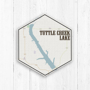 Tuttle Creek Lake Kansas Hexagon Map Print