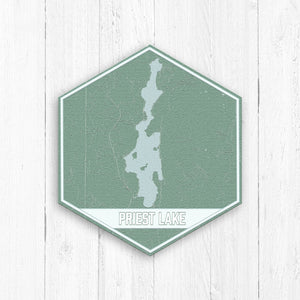 Priest Lake Idaho Hexagon Print